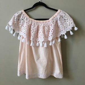 Beautiful Light pink and white off shoulder top